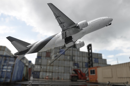 Logistics Concept , The air freight  carries cargo and  many empty old containers..