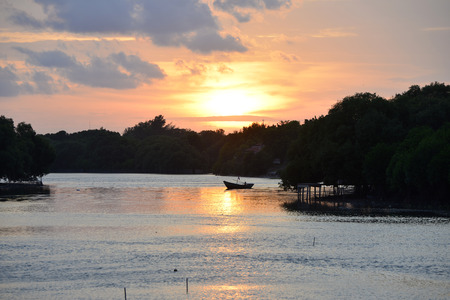 Sunset and river rayong Thailand .