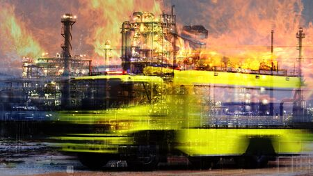 emergency concept ,Double exposure of  Fire truck, rescue  and  refinery oil plant . concept Rescue aid in crisis, a large oil refinery fire.