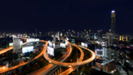 Blurred background of City elevated highway in Thailand.