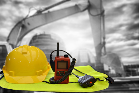 Construction  concept , Security functions in the construction . Always wear safety equipment and personal protective equipment.