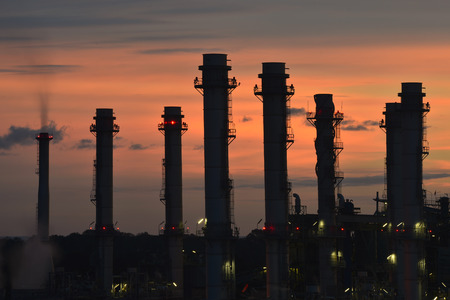 industrial factory With sunset light .