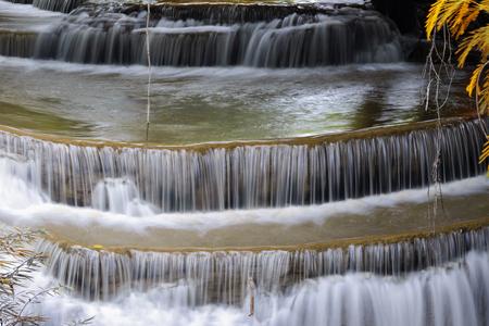 khamin: Autumn landscape with Huai  Mae Khamin Waterfall , Waterfall in deep forest Kanchanaburi  Thailand . Stock Photo