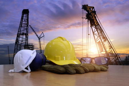 Standard construction safety and construction site background. Banque d'images