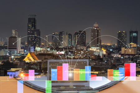 Double exposure of network connection technology ,  management concept  with city background.