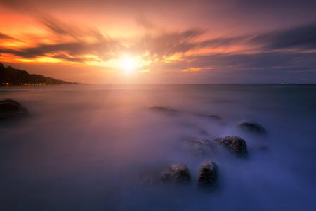 Beach sunset, Beautiful natural summer seascape. Stock Photo
