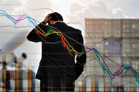 Young businessman his declining share. Bad business, economy in recession! ,Logistic concept . Stock Photo