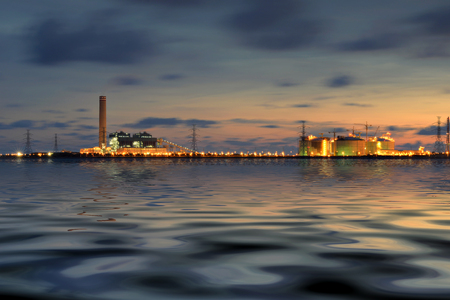Power plant , Power industry at twilight .