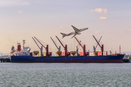 Logistic Import Export background. Stock Photo