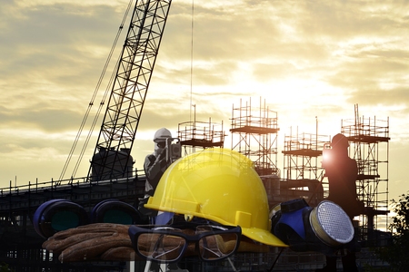 Double exposure of  safety standard and construction background