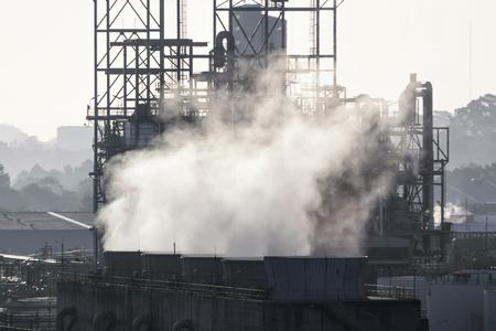 smoke from chimneys . Utility plant, Oil Refinery Stock Photo