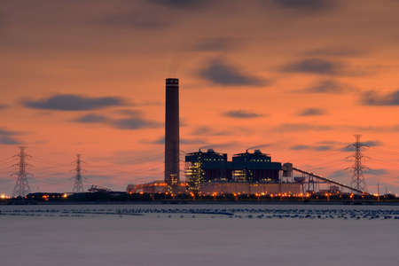 Power plant during sunset for your work .