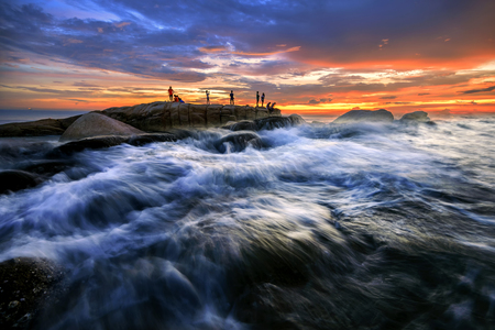 Beach sunset, Beautiful natural summer seascape. Editorial