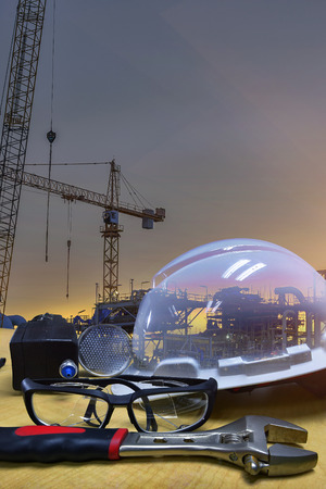 Double exposure of  safety standard and construction background ,Work safety at construction site concept .