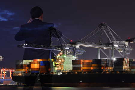business, people and logistic background.