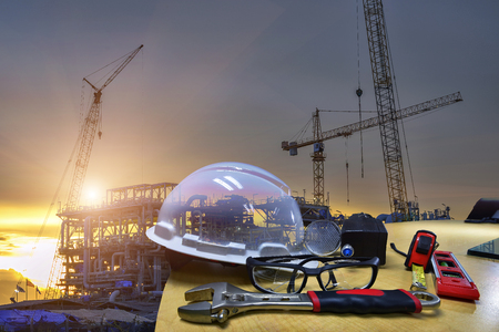Double exposure of Standard construction safety and construction site background . Safety  concept .