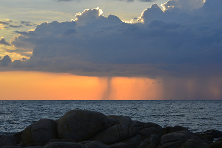 unsheathing: Amazing nature . Amazing  storm clouds and seaside .Nature seascape at beach Thailand .