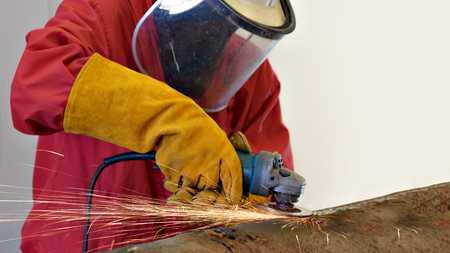 Industrial Worker at the factory welding close up . Stock Photo - 100994949