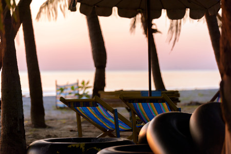 Beach chairs, sandals, vacation ,Relax concept.