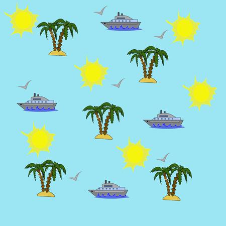 palm trees sea and a ship on a blue background