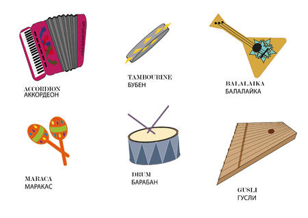 Russian folk musical instruments from the instrument name