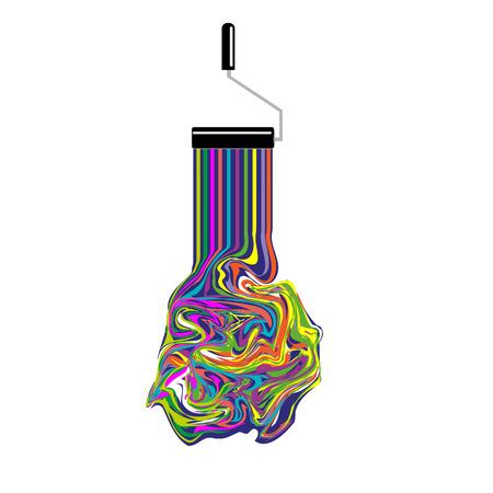 塗装色の水たまりに回すとローラーのロゴ