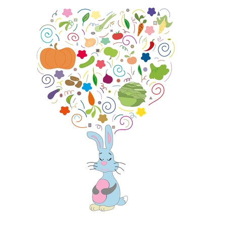 Rabbit fantasies about your favorite food vegetables and fruits Illustration