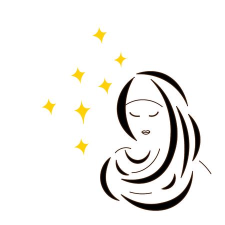 Drawing contour girl Muslim woman in scarf