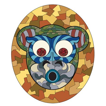 Mask of surprise monkey in ethnic style