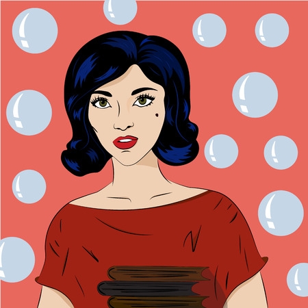 girl with textbooks Vector illustration.