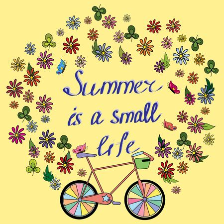 summer card with a bicycle Vector illustration.