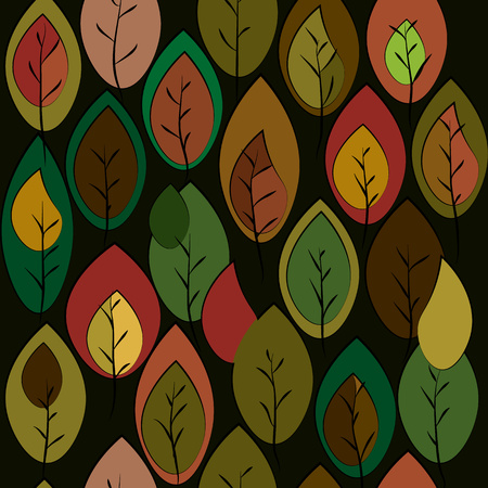 autumnal wallpaper pattern with leaves on a dark background Illustration
