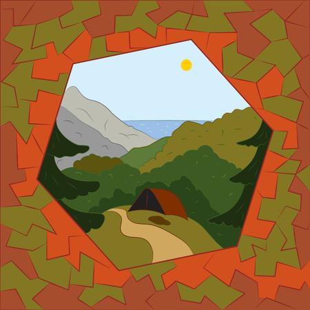 abstracte illustratie Een halt aan de rand van het bos