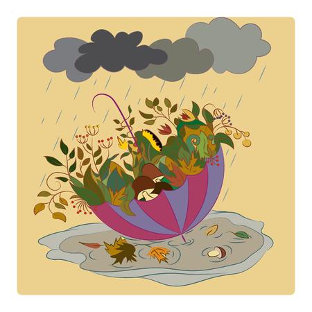 緑と秋のテーマにキノコの傘