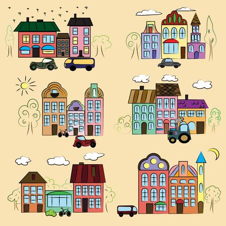 Fantasy fairy town on a plain background. Illustration