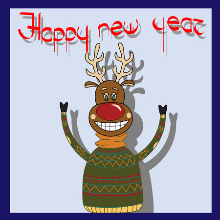 Cheerful deer pullover with greetings Happy New Year Vector Illustration