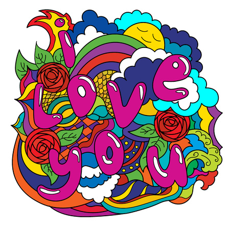Abstract drawing I love you Illustration
