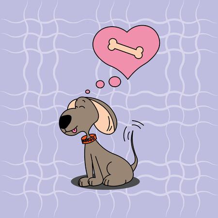 食べ物を考える犬