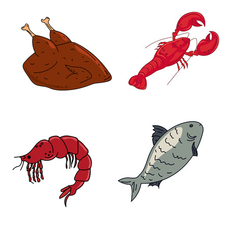 Meat and seafood, lobster, shrimp, fish and chicken Dietary meat Illustration