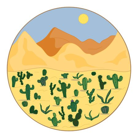 Landscape of the desert with cacti. The natural landscape.