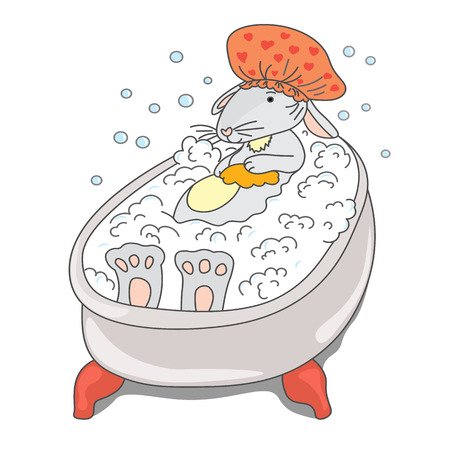 Hare in hat takes a bubble bath. vector drawing