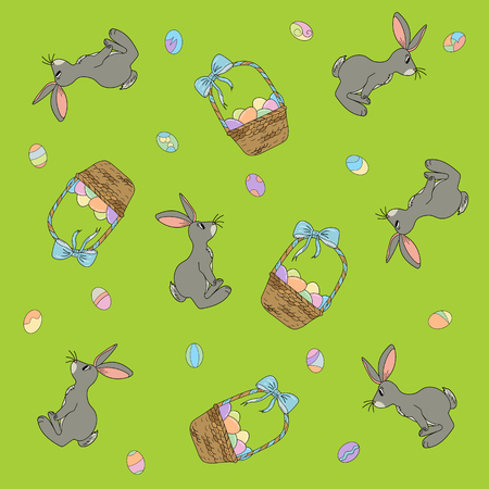 Wallpaper on the theme of Easter basket with eggs.