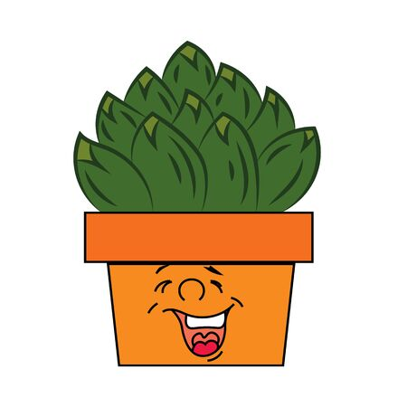 Emotional pot with cactus. Favorite indoor plants.