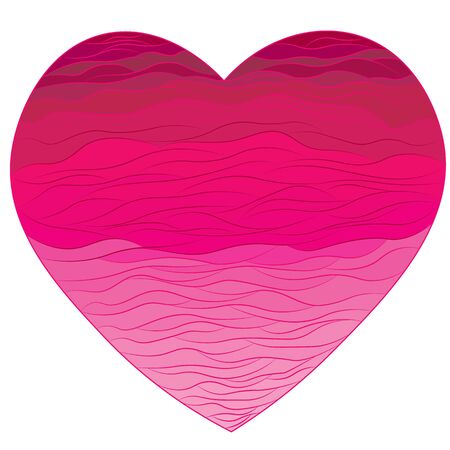 Bright heart with a contour of waves. A declaration of love.