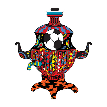 Football Russia a samovar with colorful patterns.