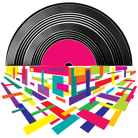 Musical mood on a vinyl record. In the style of retro Illustration