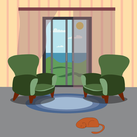 The interior of the room is furnished. Vector drawing.