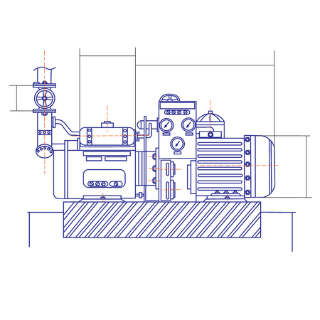 Free drawing of a refrigerating machine.