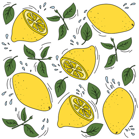 Lemon mood. Bright, ripe and juicy lemons illustration.