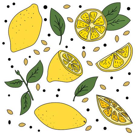 Lemon mood. Bright, ripe and juicy lemons illustration. Standard-Bild - 98474888